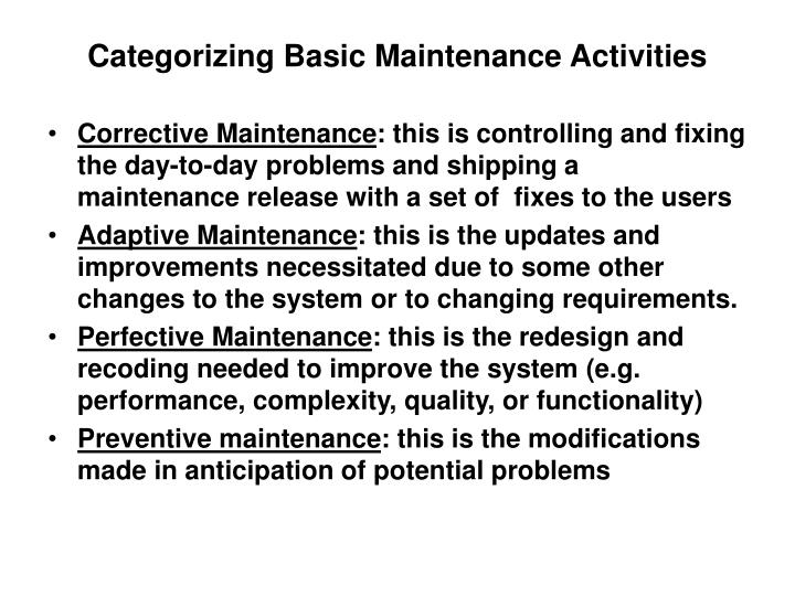 Categorizing Basic Maintenance Activities