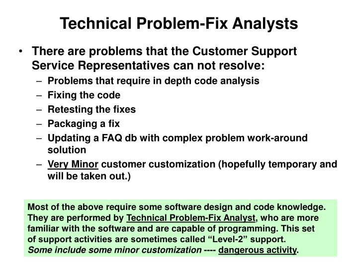 Technical Problem-Fix Analysts
