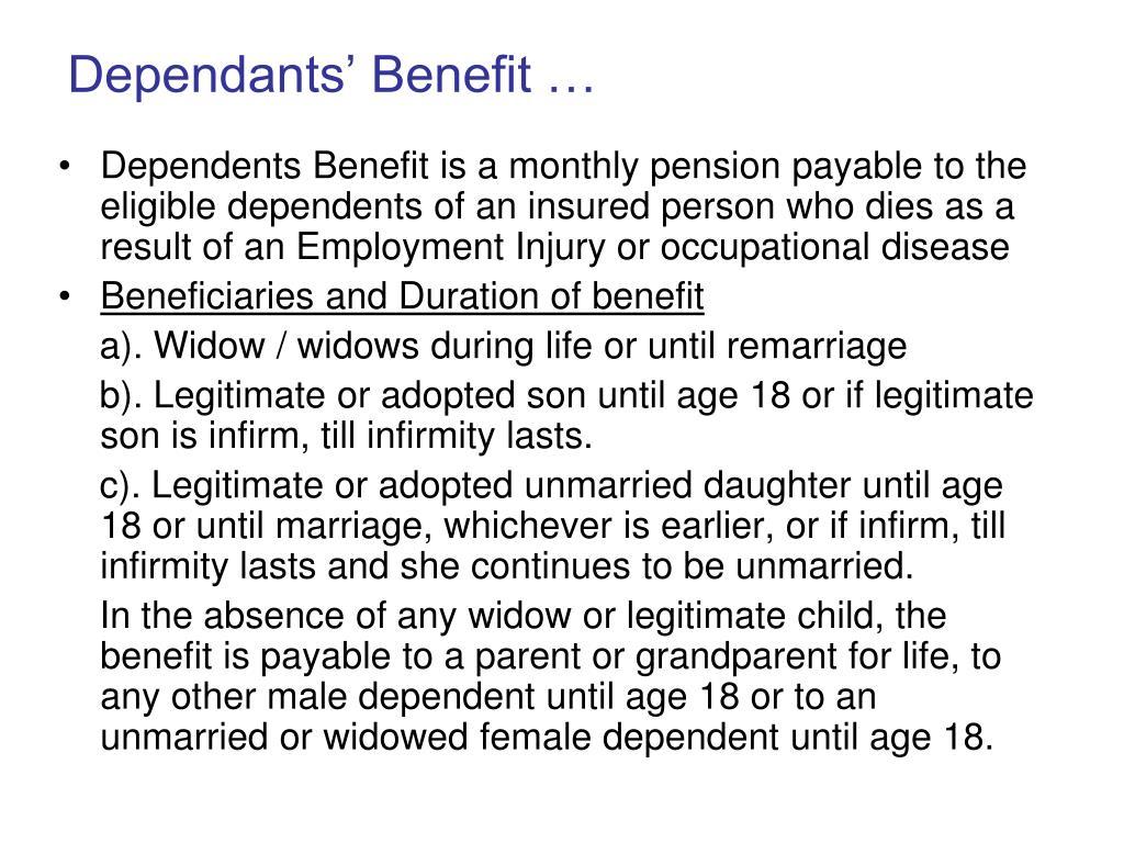 Dependants' Benefit …