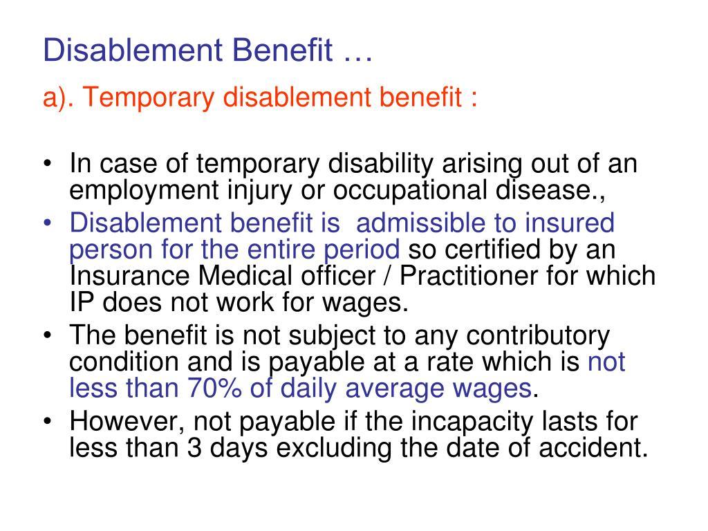 Disablement Benefit …
