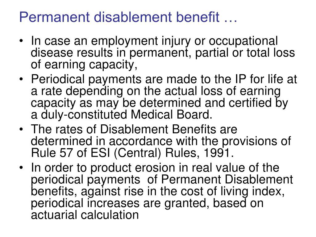 Permanent disablement benefit …