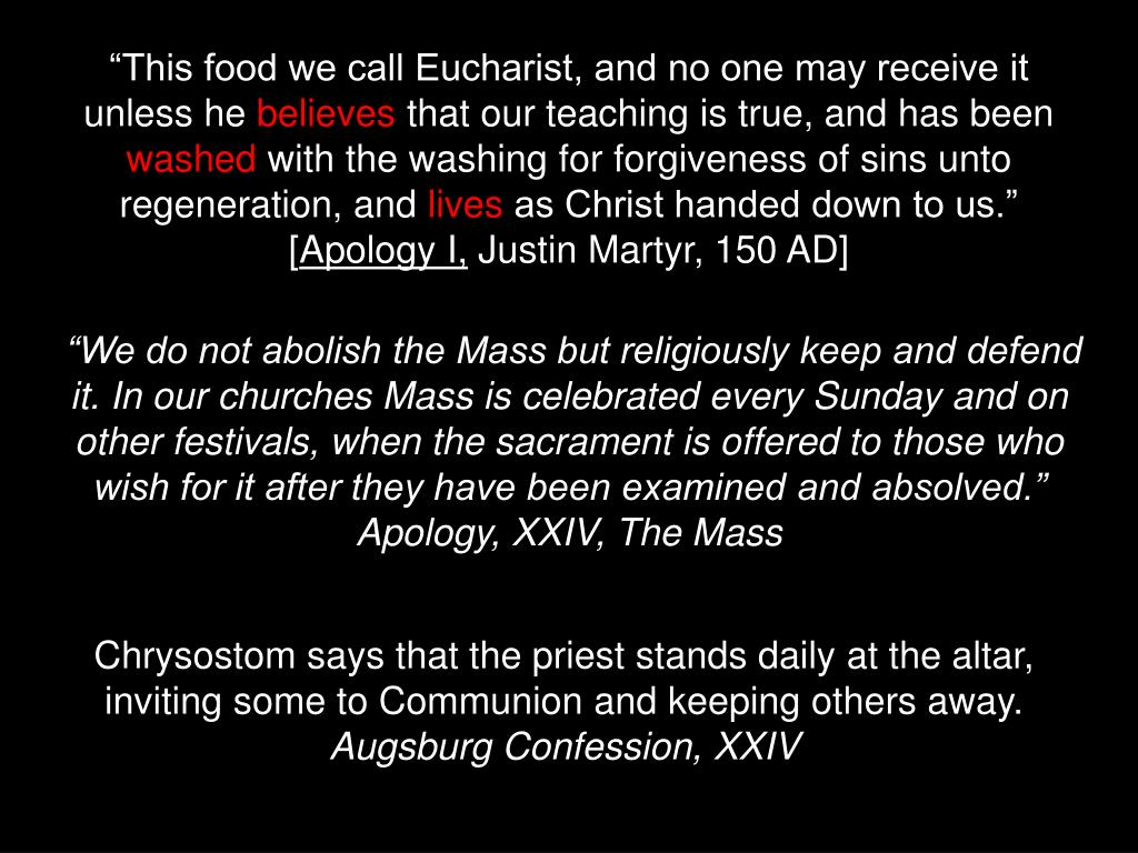 """This food we call Eucharist, and no one may receive it unless he"