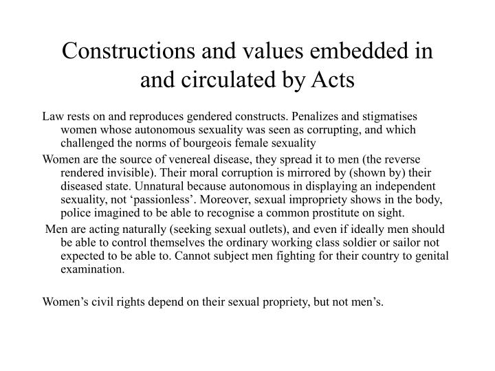Constructions and values embedded in and circulated by Acts