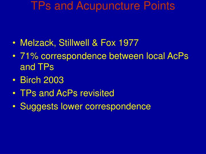 TPs and Acupuncture Points