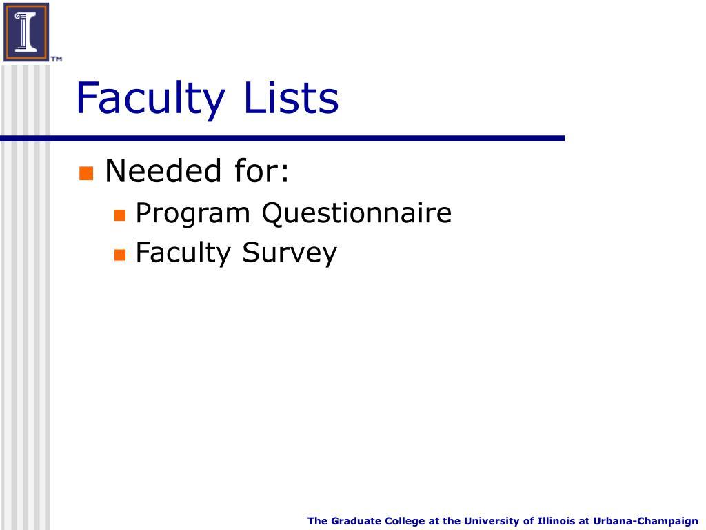 Faculty Lists