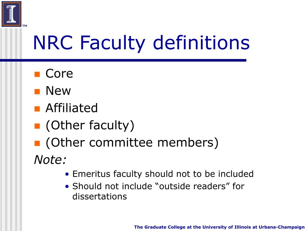 NRC Faculty definitions