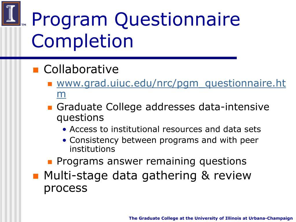 Program Questionnaire Completion