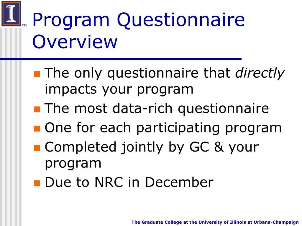 Program Questionnaire Overview