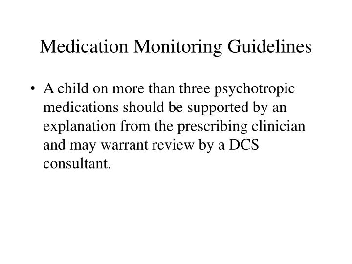 Medication Monitoring Guidelines