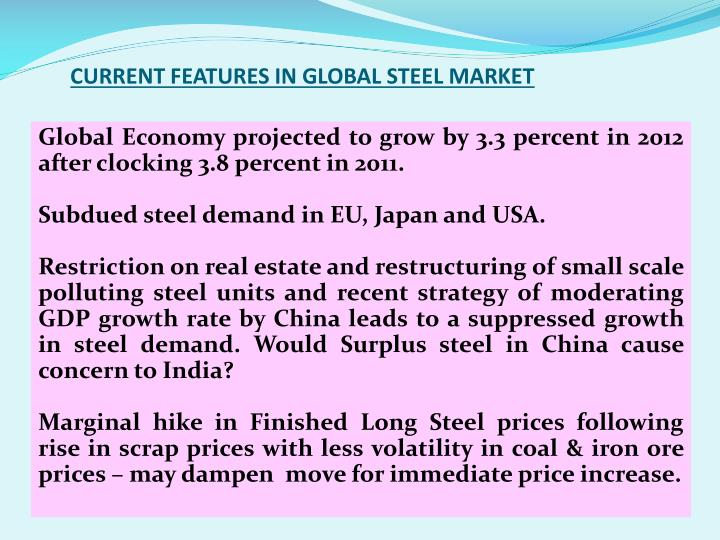 CURRENT FEATURES IN GLOBAL STEEL MARKET