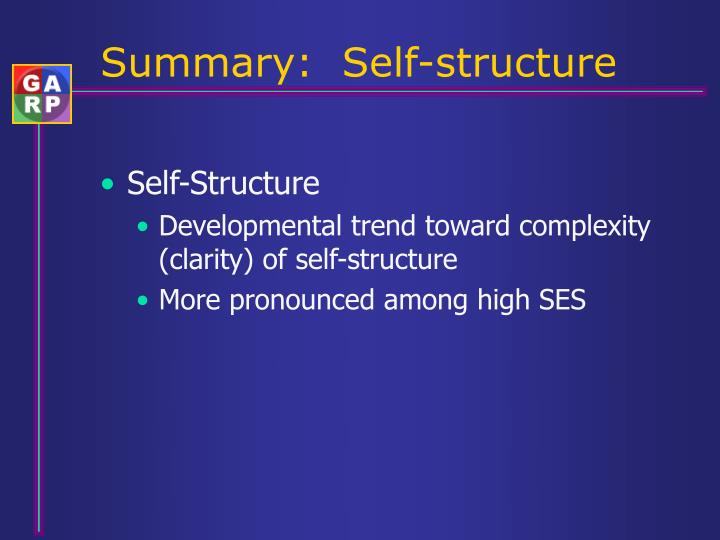 Summary:  Self-structure