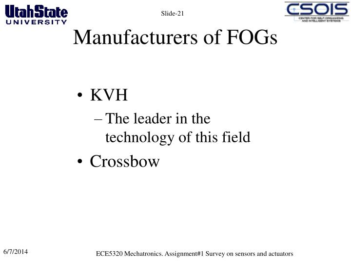 Manufacturers of FOGs