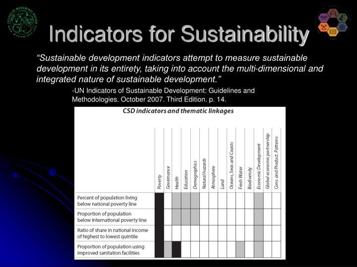 Indicators for Sustainability