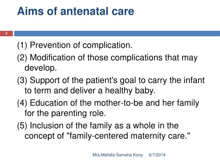 Aims of antenatal care