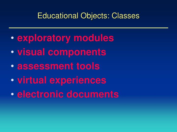 Educational objects classes