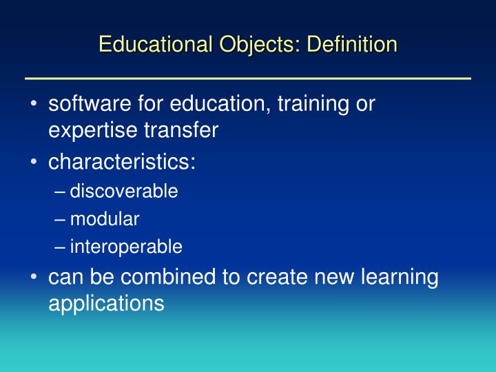 Educational objects definition