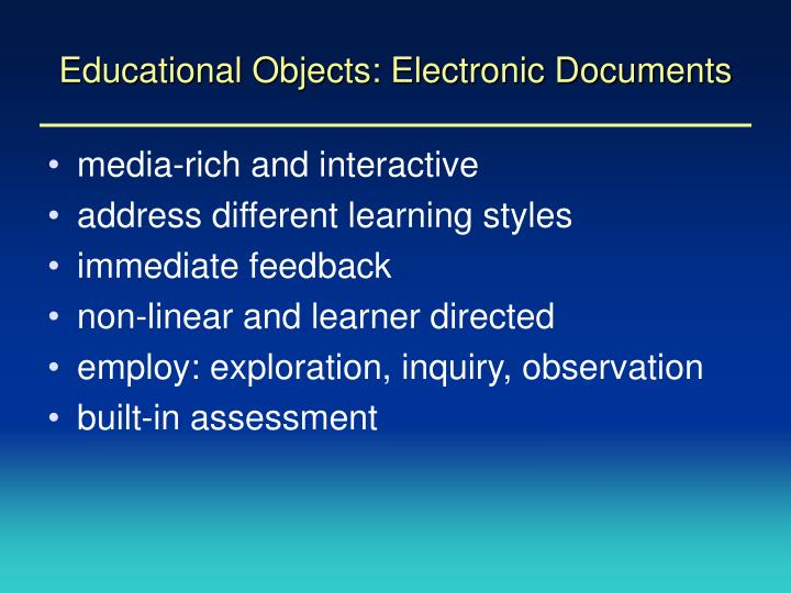 Educational Objects: Electronic Documents