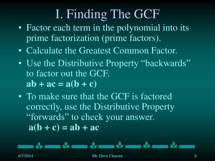 I. Finding The GCF