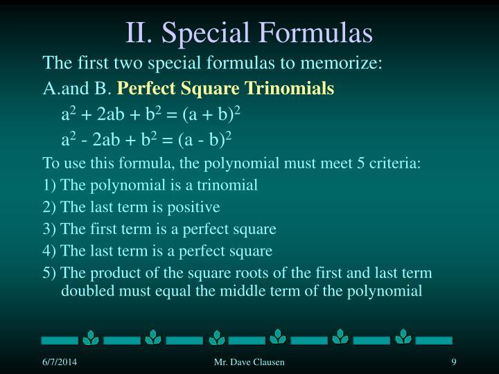 II. Special Formulas