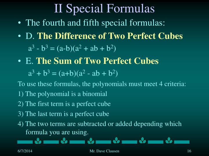 II Special Formulas
