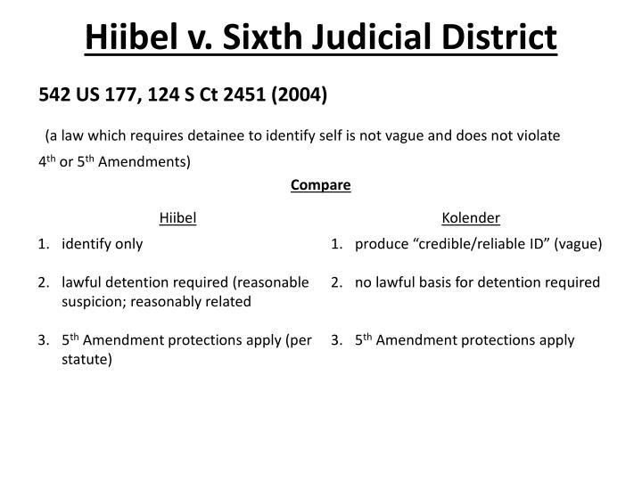 Hiibel v. Sixth Judicial District