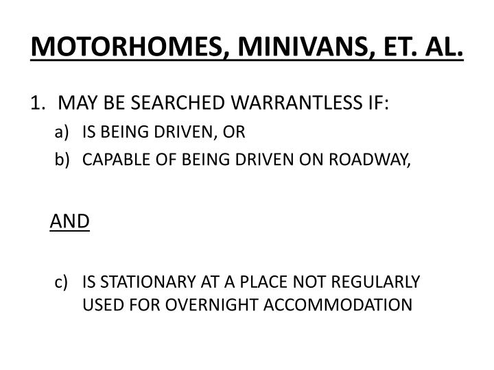 MOTORHOMES, MINIVANS, ET. AL.