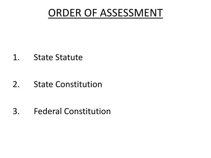 ORDER OF ASSESSMENT