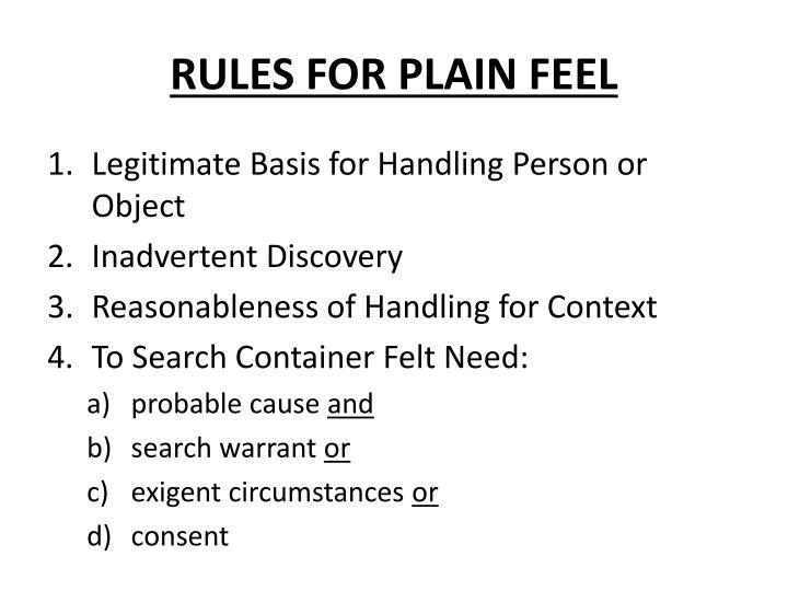 RULES FOR PLAIN FEEL