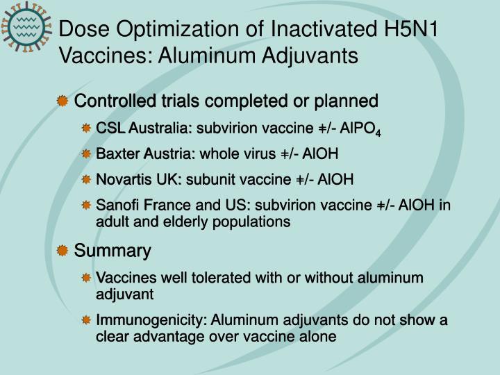 Dose Optimization of Inactivated H5N1 Vaccines: Aluminum Adjuvants