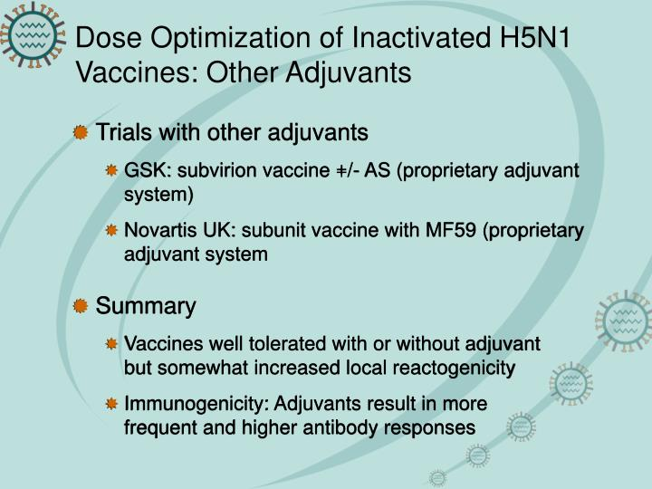 Dose Optimization of Inactivated H5N1 Vaccines: Other Adjuvants