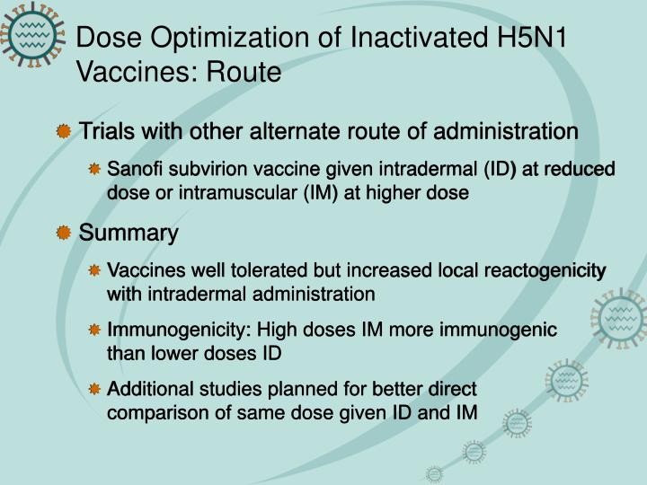 Dose Optimization of Inactivated H5N1 Vaccines: Route