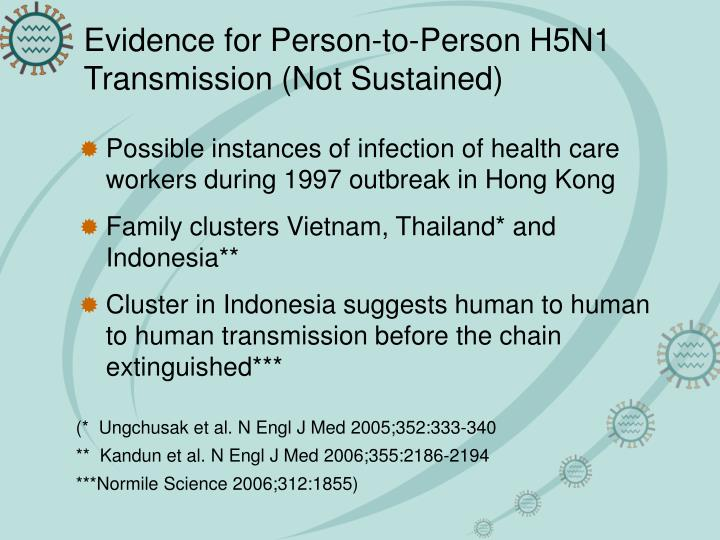 Evidence for Person-to-Person H5N1 Transmission (Not Sustained)