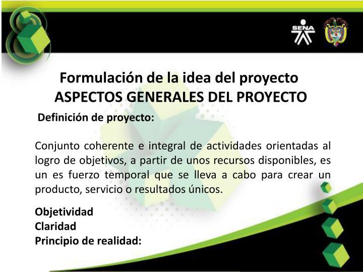 Formulación de la idea del proyecto