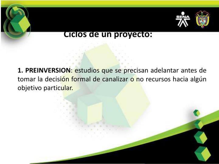 Ciclos de un proyecto: