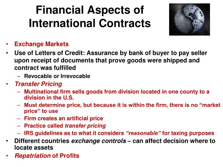 Financial Aspects of International Contracts