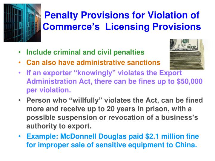 Penalty Provisions for Violation of           Commerce's  Licensing Provisions
