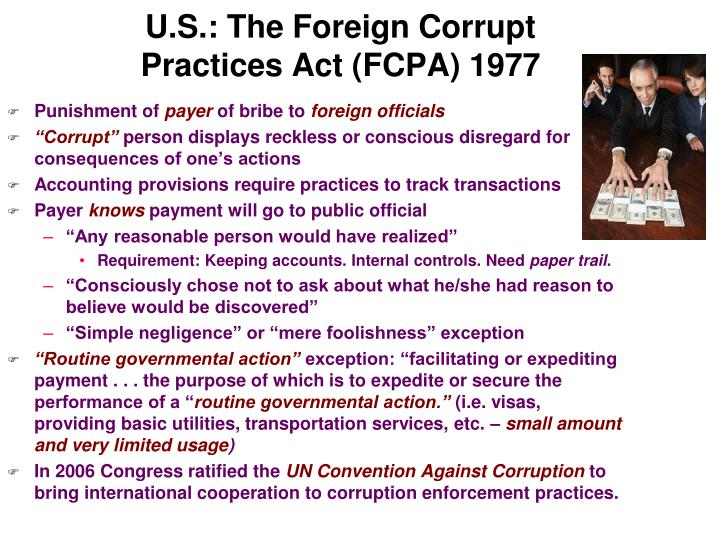 U.S.: The Foreign Corrupt