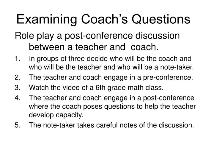 Examining coach s questions
