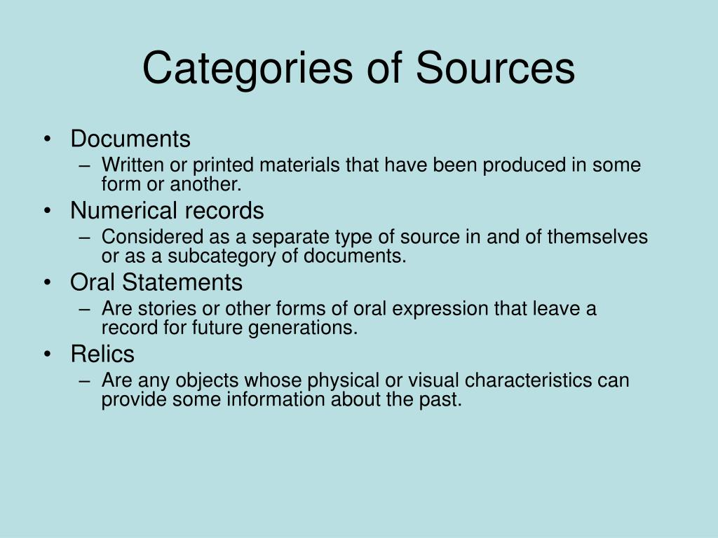 Categories of Sources