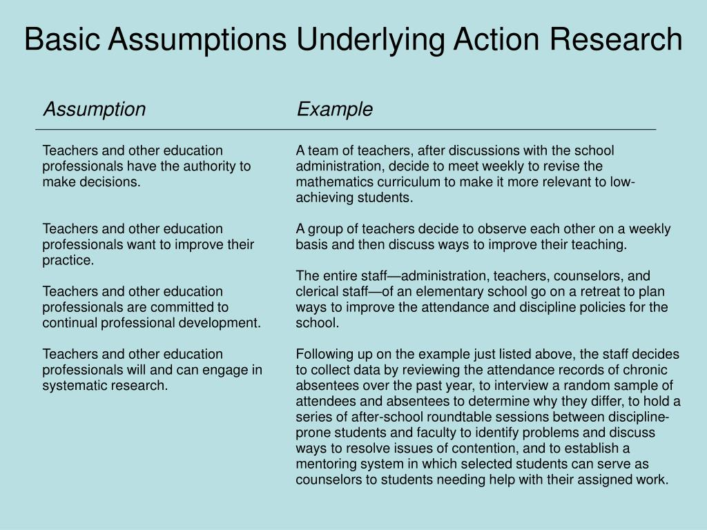 Basic Assumptions Underlying Action Research