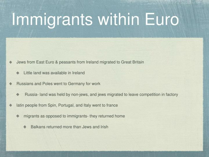 Immigrants within Euro