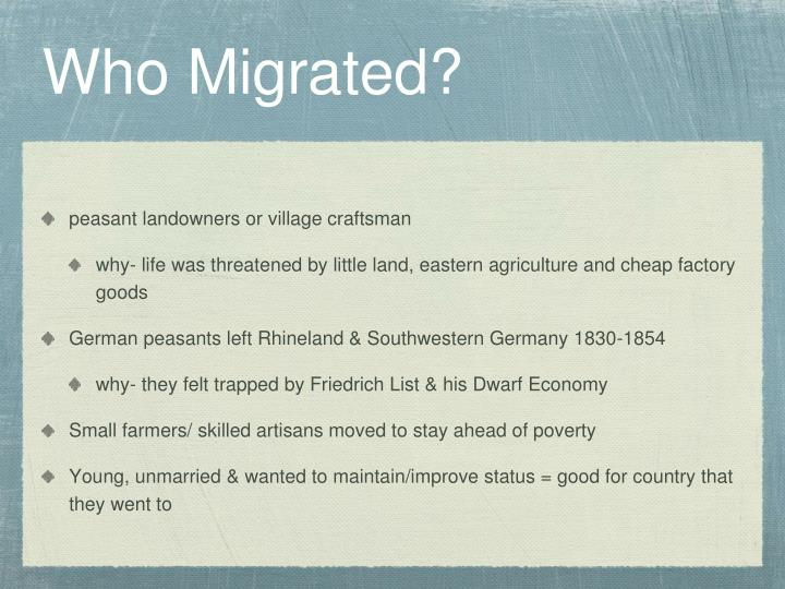 Who Migrated?