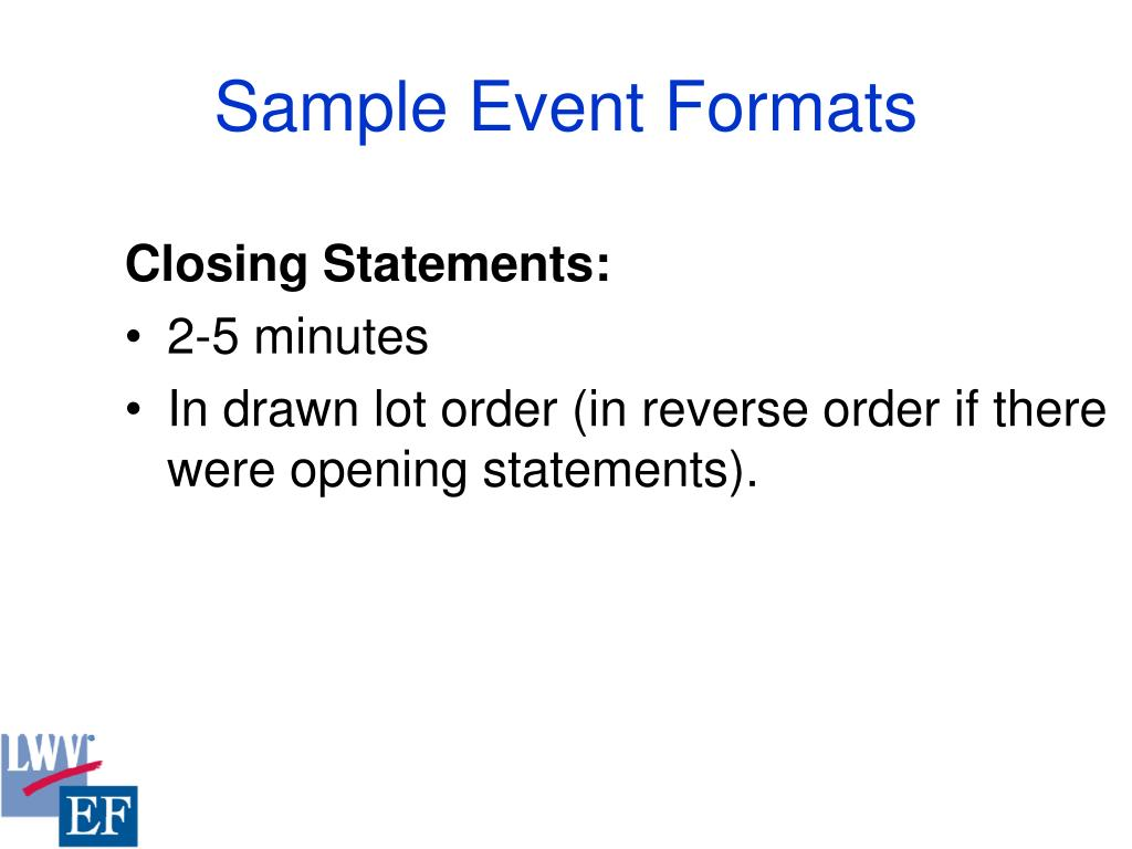 Sample Event Formats
