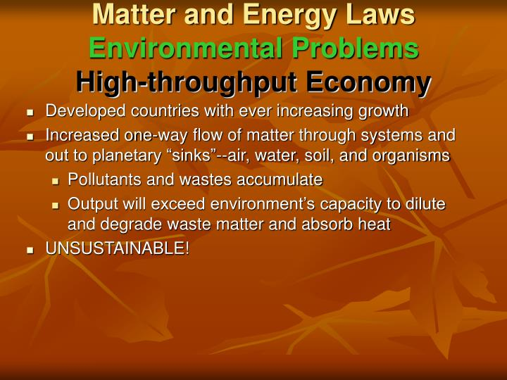 Matter and Energy Laws