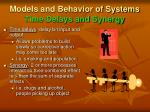 models and behavior of systems time delays and synergy