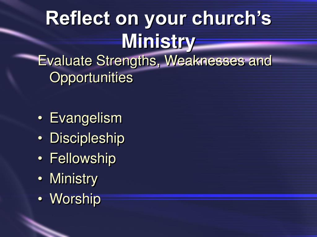 Reflect on your church's Ministry