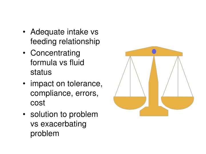 Adequate intake vs feeding relationship