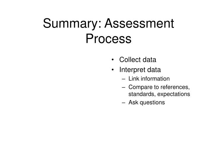 Summary: Assessment Process