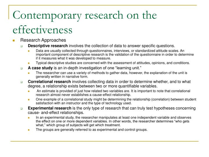 Contemporary research on the effectiveness