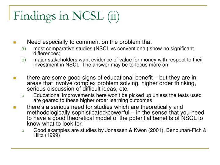 Findings in NCSL (ii)